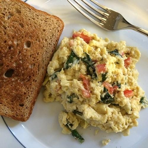 2 organic brown eggs, tomato, basil, mozzarella scrambled and a slice of wheat toast. Yummy dinner last night.