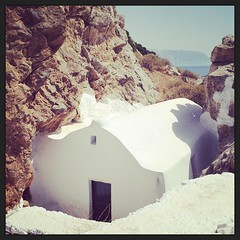Tiny church hidden amongst the rocks #amonthingreece