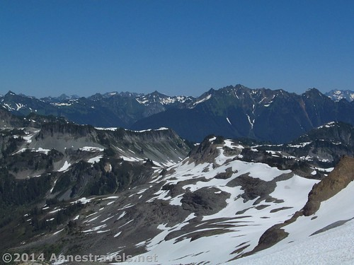 The view from the saddle above the meadow above the Ptarmigan Ridge Trail, Mount Baker-Snoqualmie National Forest, Washington