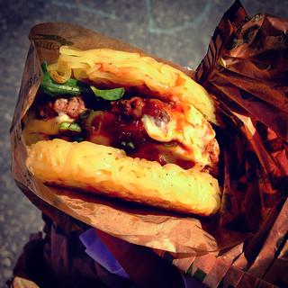 Ramen Burger at Smorgasburg, Brooklyn Flea Food Markey - Brooklyn Bridge Park, NYC
