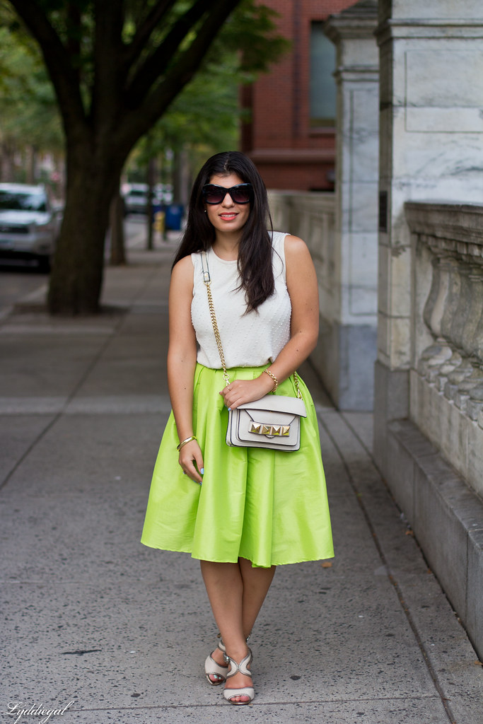 poofy neon green skirt, beaded silk top, grayson bag-1.jpg