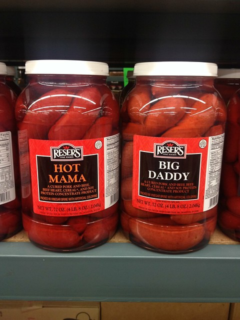hot mama and big daddy sausages in a jar