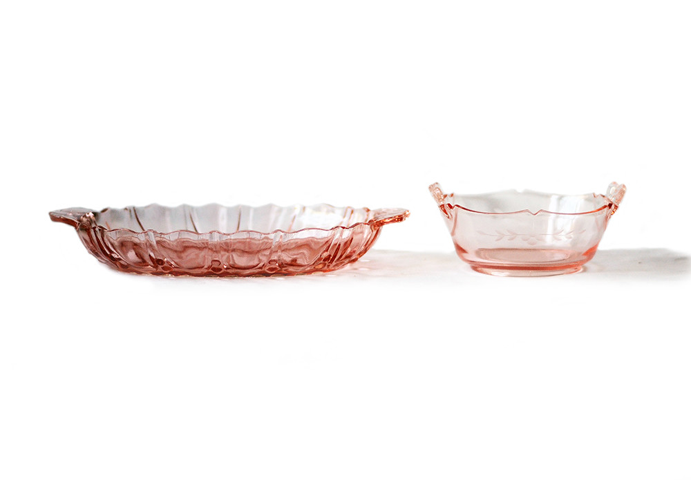 Two Vintage Pink Depression Glass Serving Dishes