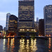 distortions in water,Night view of lower Manhattan from the rivers, New York, U.S.A. by Fco. Javier Cid