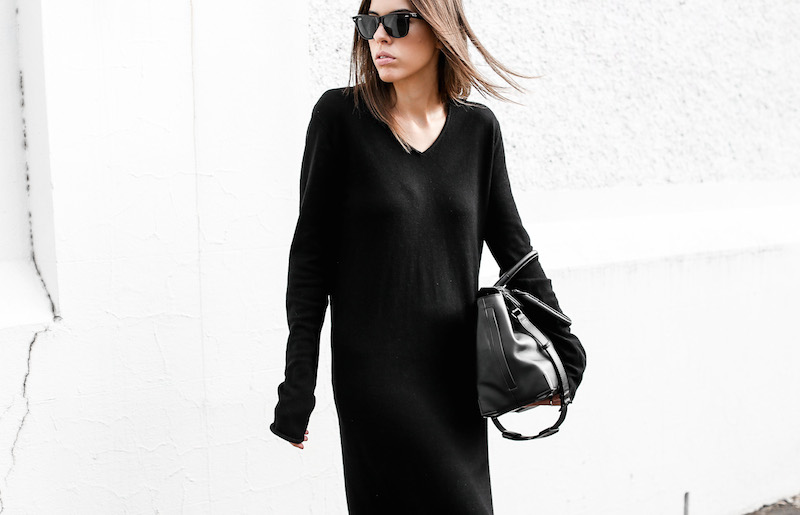 modern legacy fashion blog street style Celine cross slide sandals ugly trend Bassike knit midi dress fall Alexander Wang Prisma tote bag all black (1 of 9)
