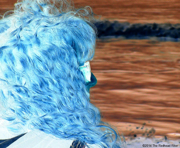 woman beach sherry redhead riter on 2014-01-18 va beach bright blue ocean inverted