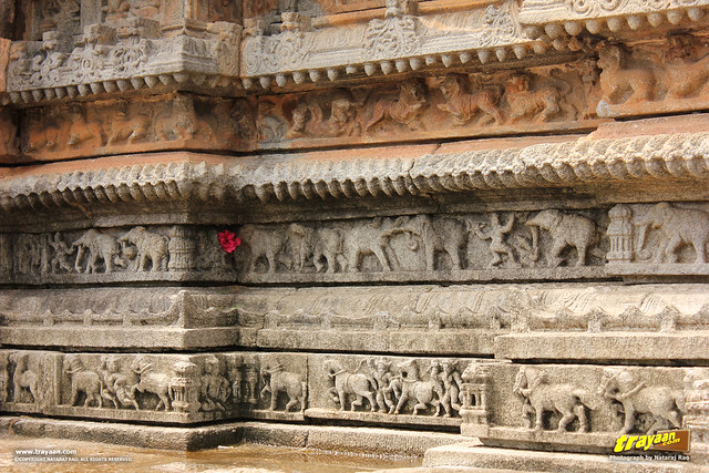 Animals like lions, horses and elephants, sculpted on the bottom of the walls of Vidyashankara Temple, in Sringeri, Chikkamagalur district, Karnataka, India
