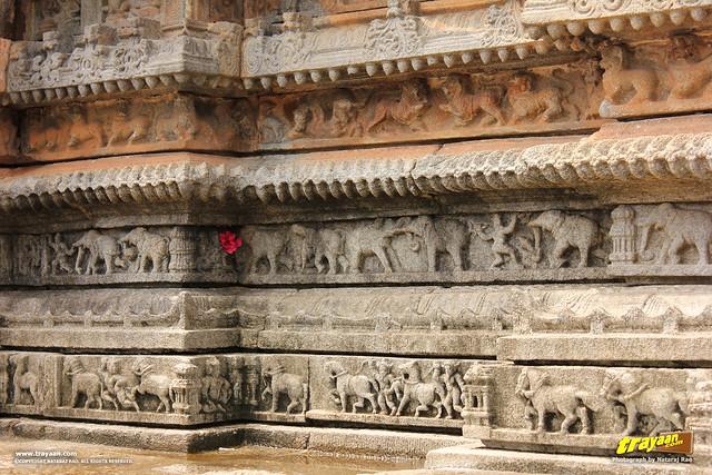 Animals like lions, horses and elephants, sculpted on the bottom of the walls of Vidyashankara Temple, in Sringeri, Chikkamagalur district, Karnataka, India
