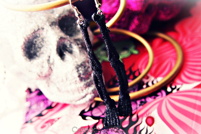Glitter Skeleton Leg Earrings