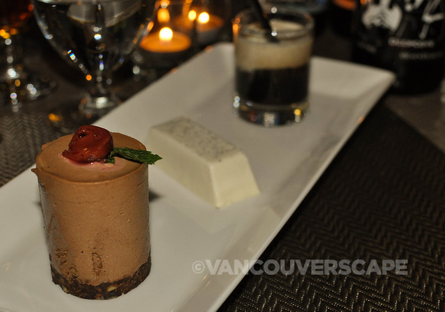 Coffee milk semifreddo, panna cotta, vanilla float with Smooth Criminal Stout
