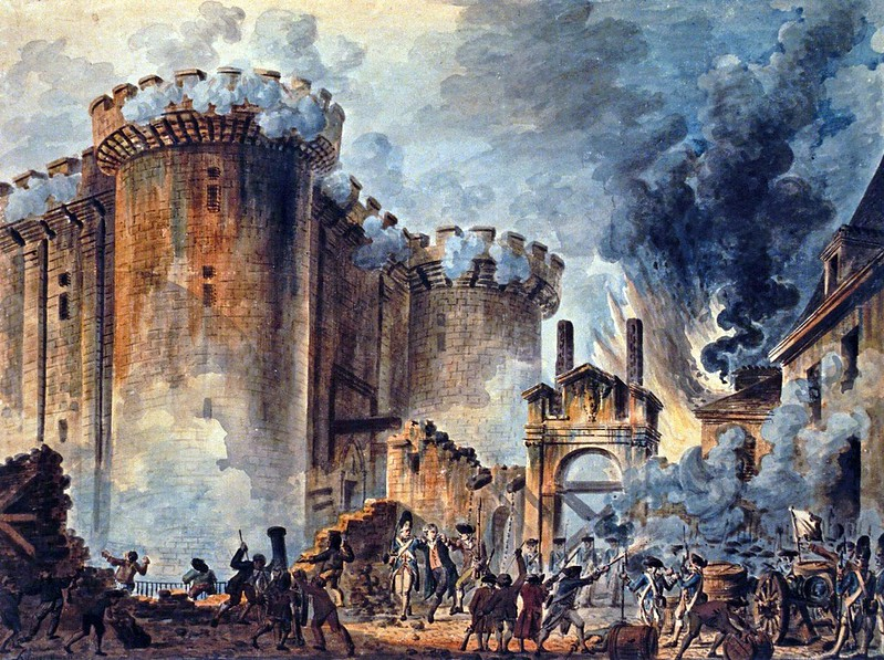 Storming of the Bastille depicted by French painter Jean-Pierre Houël