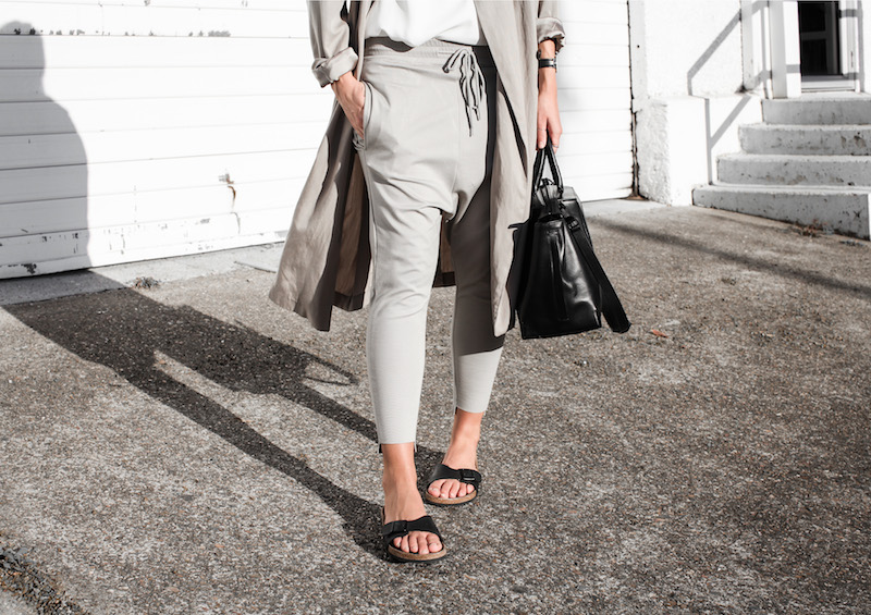 modern legacy fashion blog Australia fall Zara silky trench coat street style neutrals Bassike Birkenstock Madrid Alexander Wang bag (9 of 14)