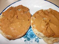 Peanut Butter On An English Muffin.