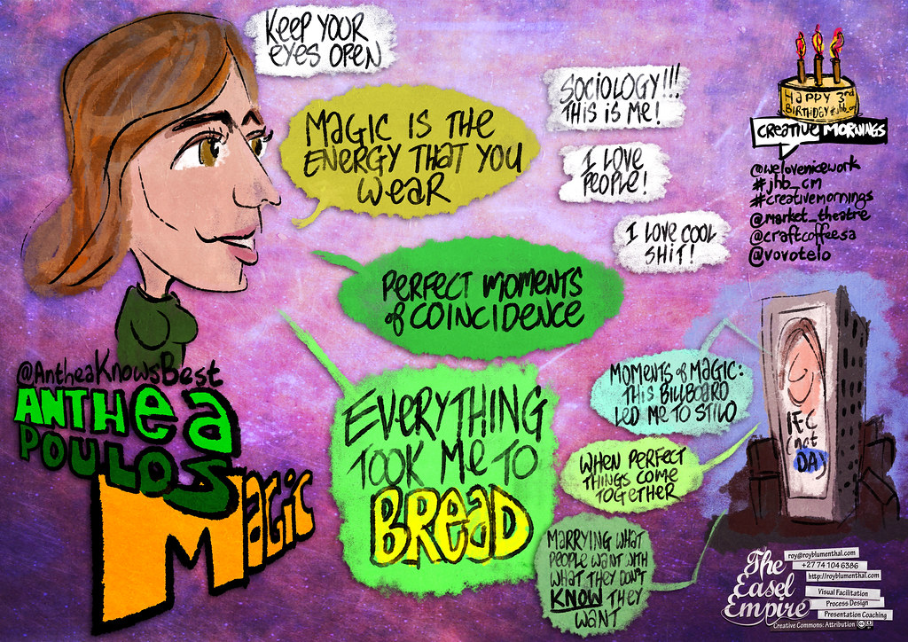 Roy's sketchnote of MAGIC by @AntheaKnowsBest at #CreativeMornings #jhb_cm. Thanks @welovenicework!