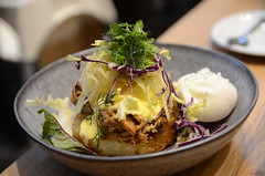 Hash browns with pulled pork, poached eggs, hollan…