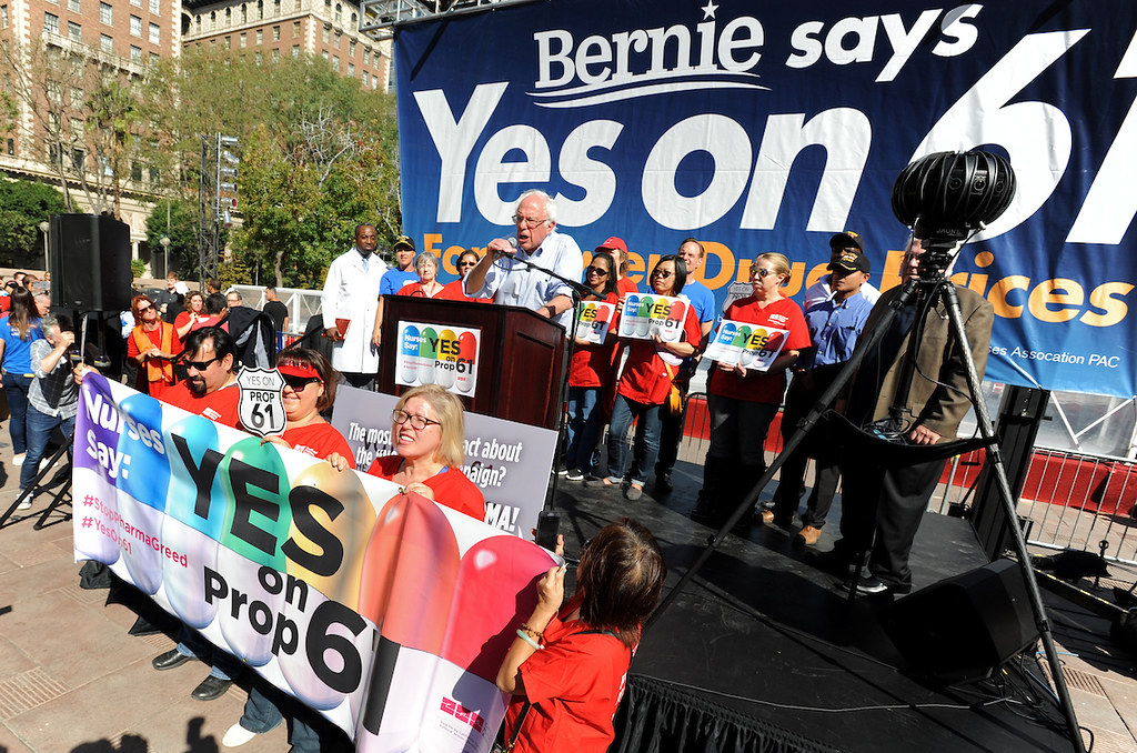 Yes on Prop 61 Rally and March with Bernie Sanders and oth