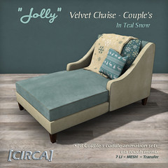 "[CIRCA] - ""Jolly"" - Velvet Chaise - Couple's - In Teal Snow"