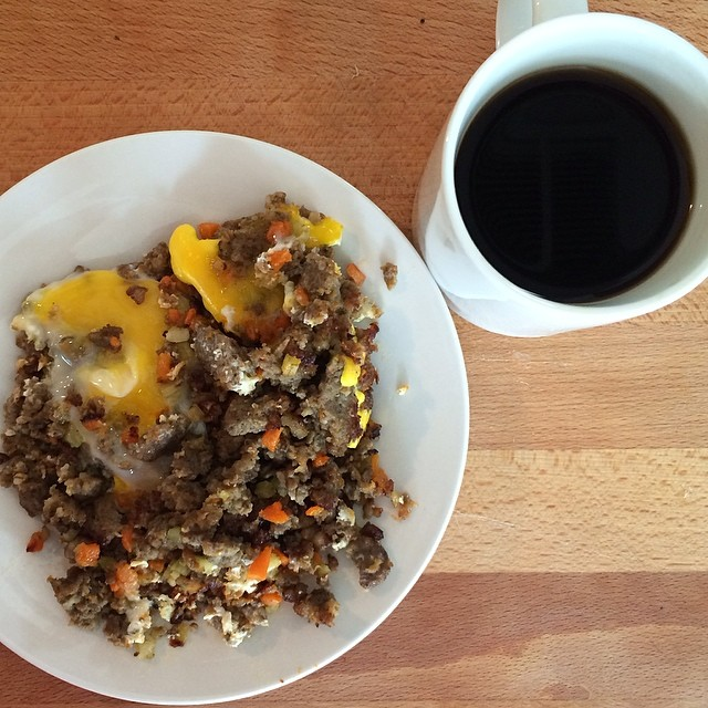 Day 8, #Whole30 - breakfast (sausage hash with egg & black coffee)