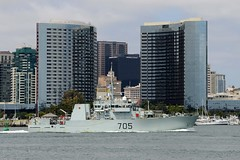 The Canadian coastal defense vessel HMCS Whitehorse (MM 705) transits San Diego Bay June 27 while arriving for RIMPAC. The ship will take part in mine countermeasures training events in San Diego and off Southern California. (U.S. Navy/MC2 Joshua Scott)