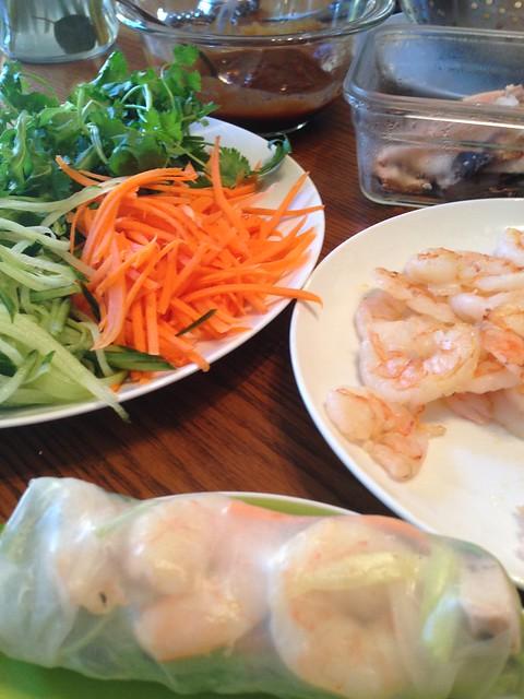 sprimp and pork spring rolls
