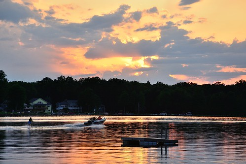 sunset clouds mi reflections golden boat spring westlake sunrays waterskier june2014