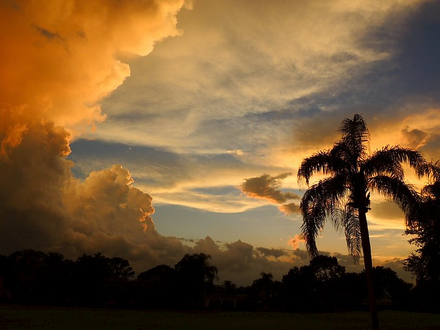 Storm clouds and sunset