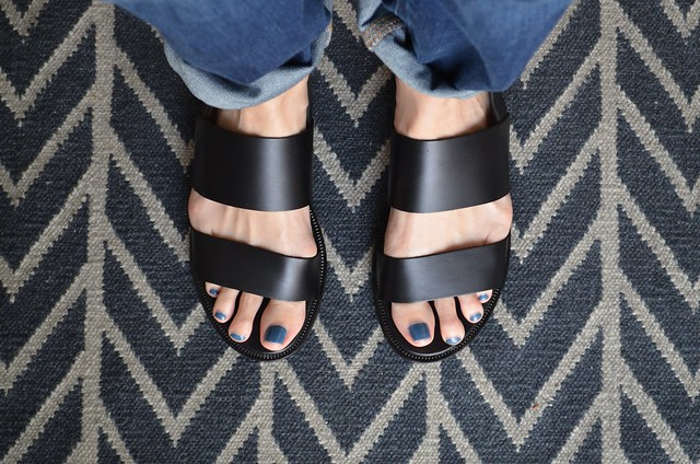 and other stories black leather two strap sandal
