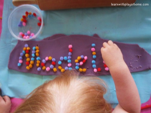 Learn Your Name with Playdough and Pom Poms (Photo from Learn with Play at Home)