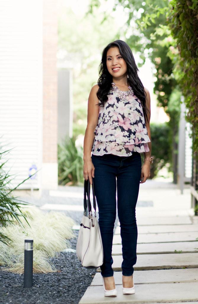 cute & little blog | petite fashion | sheinside floral chiffon blouse, skinny jeans, white scalloped cutout pumps | maternity bump style