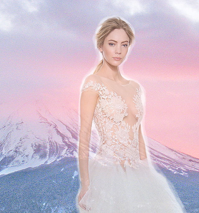 ballerina wedding dress, pink sky over Mount Fuji