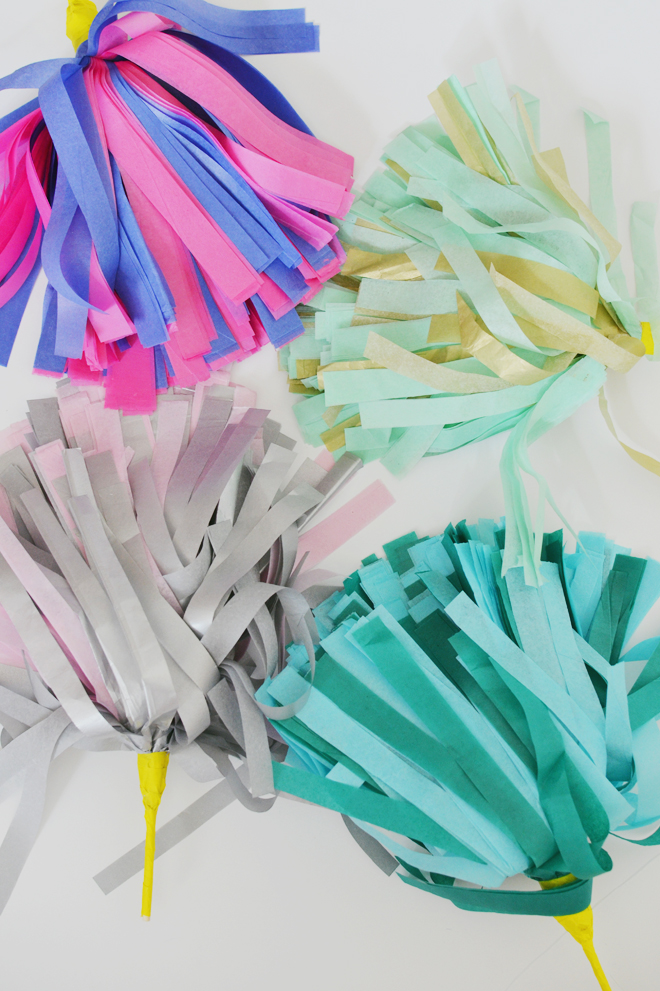 tissue paper cheer pom poms