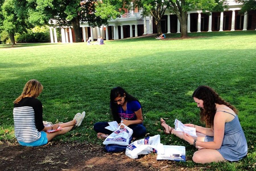 July 18, 2014 - Incoming students enjoying the Lawn and taking a break from orientation.