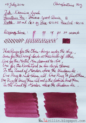 Diamine Syrah on Clairefontaine