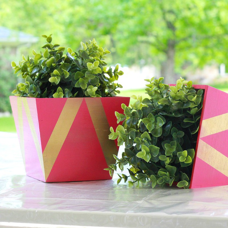 how to make diy geometric painted planters tutorial via Kristina J blog