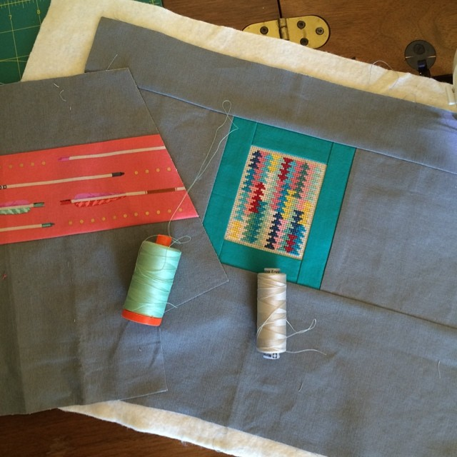 Zippered bag in progress