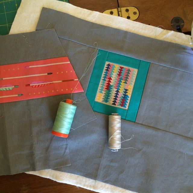 Zippered bag in progress