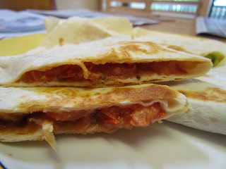 Peanut Butter and Tomato Quesadillas
