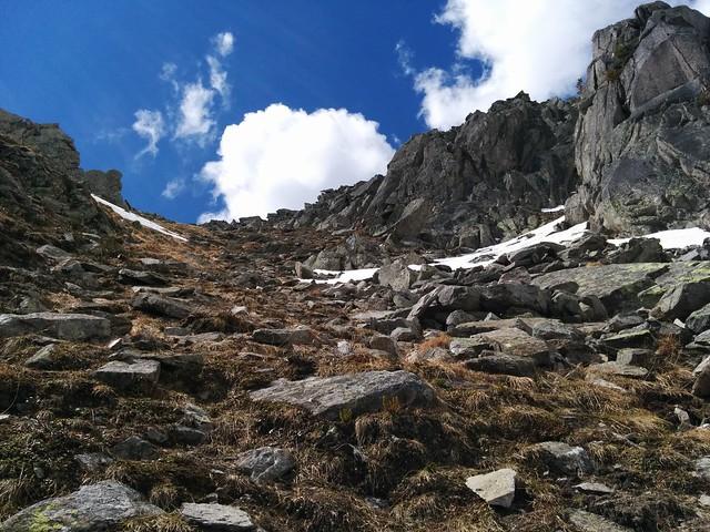 Steile Abstiegspassage Kegelgassl-Alm
