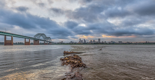 lighting bridge sky panorama weather skyline clouds skyscraper sunrise canon buildings reflections river landscape fun concrete lights pier rust rocks downtown skyscrapers pyramid tennessee jetty bank explore mississippiriver arkansas oldbuilding gravel waterway hernando memphistn hernandodesotobridge canon1635mmf28lii i40bridge canon5dmarkii kenthomannphotography
