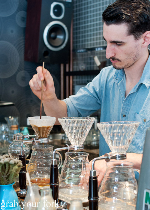 Making V60 pour over coffee at Proud Mary Coffee in Collingwood, Melbourne