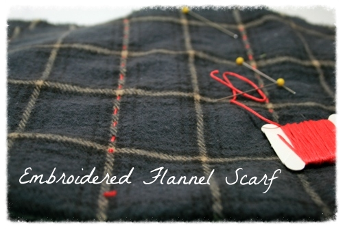 Embroidered Flannel Scarf