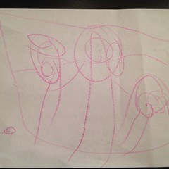 According to Ashlin it's a picture she drew of a ladybug, mama, dada, and Ashlin. I didn't get to ask where Teagan was. #firststickpeople