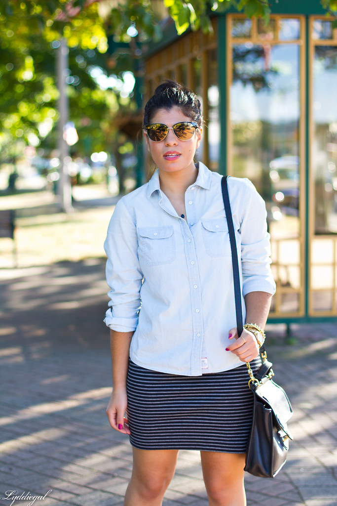 chambray shirt, striped mini skirt, converse-5.jpg