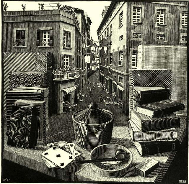 019-Escher - Naturaleza_muerta_con_calle  1921-Via becolegionuevaesperanza.blogspot.com