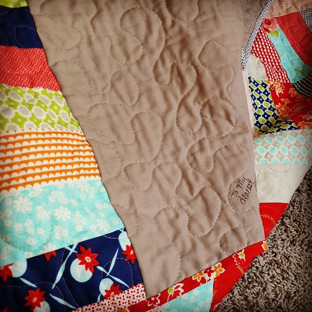 Someone is getting her first quilt...finally.  #misskate
