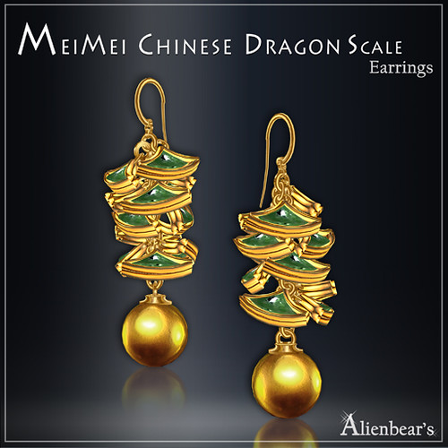 MeiMei Dragon Scale Earrings Jade