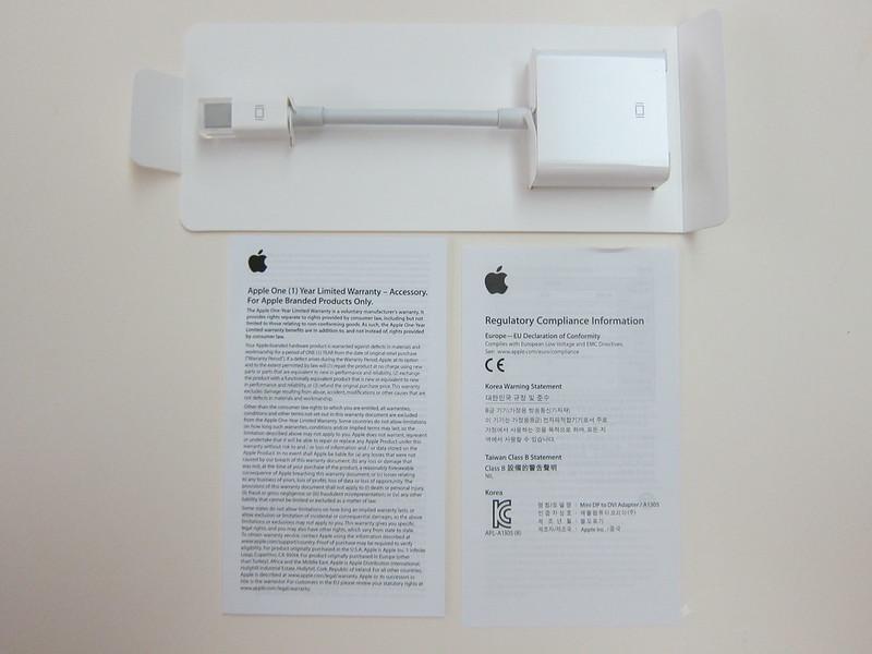 Apple Mini DisplayPort to DVI Adapter - Box Contents