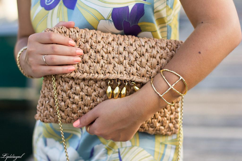 Tropical print dress, straw clutch, white sandals-4.jpg