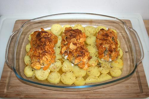 31 - Steinbeißer mit Kartoffelchipskruste - Fertig gebacken / Fish filet with potatoe chips crust - Finished baking