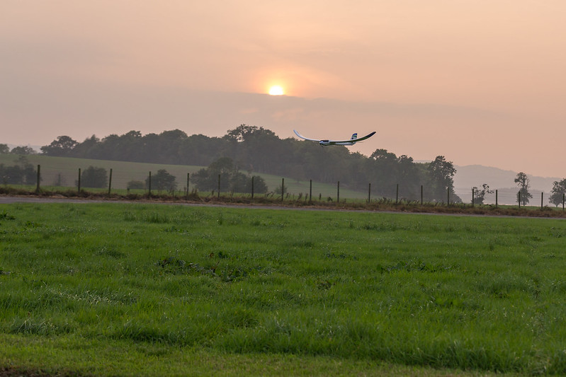 Arthur landing the glider.